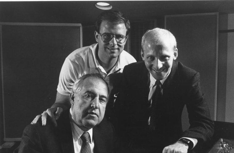 Dmitry Paperno (left) with producer Jim Ginsburg (right) and engineer Bill Maylone (center) at a Cedille Records recording session